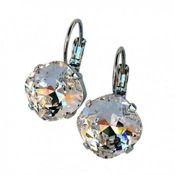 HisJewelsCreations Cushion Cut Large Square Stone Silver-tone Earrings - Clear - C9122BFMOEN