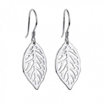 S925 Sterling Silver Filigree Dangle Leaf Earrings for Women - CI185U9ZG8Y