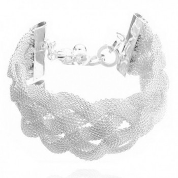 Sephla 925 Sterling Silver Plated Weave Mesh Bracelet for Women - CT11Z82I6UN