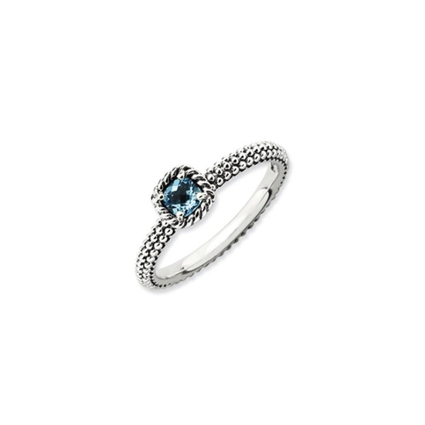 Antiqued Sterling Silver Stackable Blue Topaz Ring - CZ118CS78U9