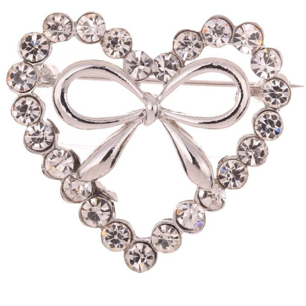 Yazilind Jewelry Silver Plated Heart Full Crysatl Inlay Bowknot Shape Charm Brooches and Pins for Women - Silvery - C411IMJEHRP