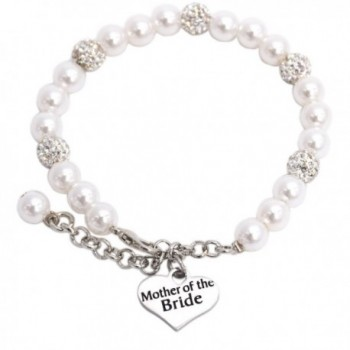 Mother of the Bride Pearl Bracelet Wedding Gift Jewelry - White - CB184S8C0DQ