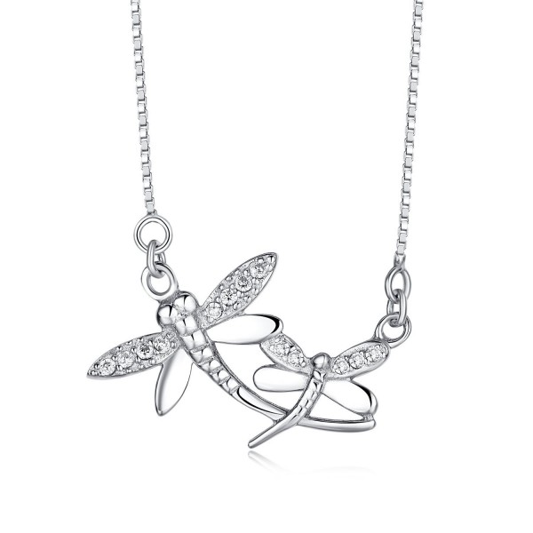 """Sterling Silver Dragonfly Pendant Necklace with 16""""+2"""" Box Chain - C312NUN5AQG"""
