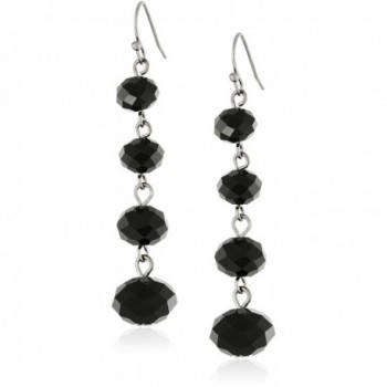 1928 Jewelry Classic Black Graduated Beaded Linear Drop Earrings - CU11MCGTF4J