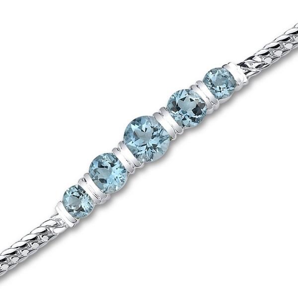 Swiss Blue Topaz Bracelet Sterling Silver Rhodium Nickel Finish 5.00 Carats 5 Stone Design - CP111PMCS45