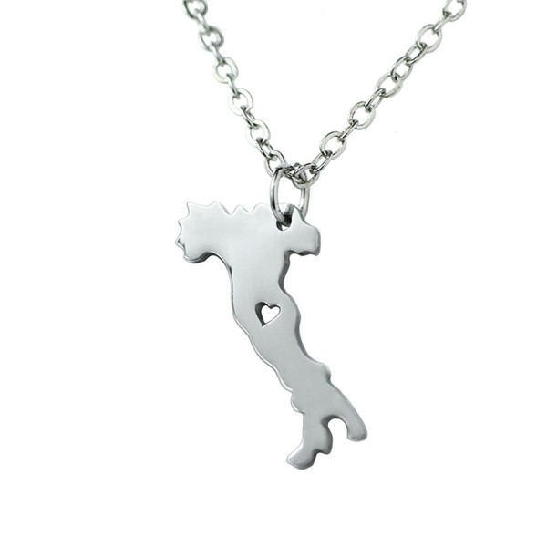Silver Tone Stainless Steel Map Pendant Necklace- We Love Italy- Italy - CZ17Y03X8OG