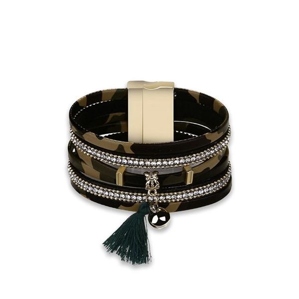 Daesar Alloy Leather Bracelet Bangle For Women Ball Rope Tassel Camouflage Pattern CZ Bracelet - Beige - CI18805UURQ