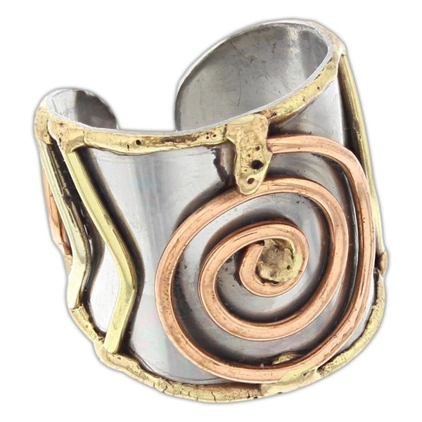 Anju Cuff Ring Welded Mixed Metal Design - Copper- Stainless Steel- Brass - CJ1824R7MYY