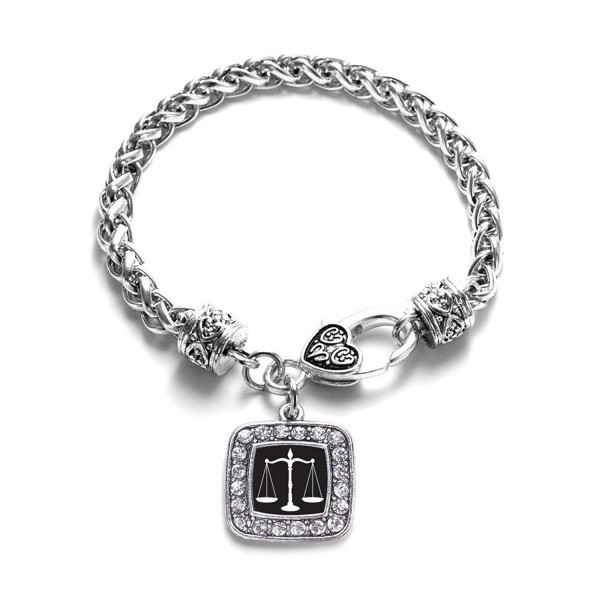 Scale of Justice Lawyer- Judge & Law Student Charm Classic Silver Plated Square Crystal Bracelet - CB11LI449QZ