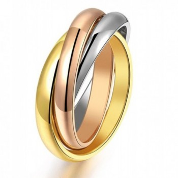 Women's 316L Stainless Steel Tone Interlocked Rolling Wedding Band Rings-Tri color:Gold-Silver-Rose - CN128916WT1