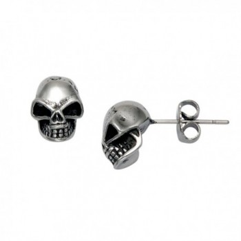 Stainless Steel Skull Stud Earrings - C7119ECQ5B5