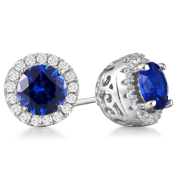 Vibrille 6mm Round Created Blue Sapphire Sterling Silver Stud Earrings for Women with Cubic Zirconia Halo - CY185ZHSEKX