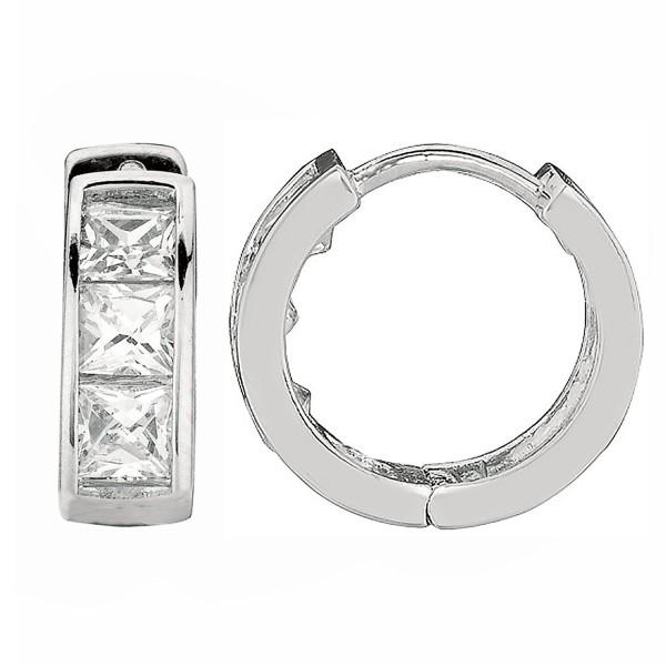Sterling Silver Princess-cut Cubic Zirconia Huggie Hoop Earrings 3.5x9 Mm - CN11B3TS8KN