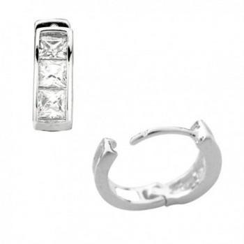 Sterling Silver Princess cut Zirconia Earrings