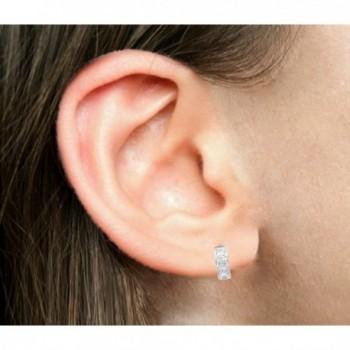 Sterling Silver Princess cut Zirconia Earrings in Women's Hoop Earrings