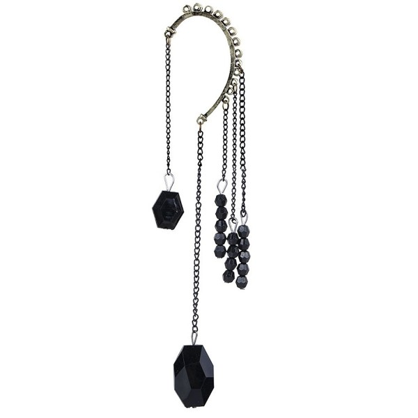 YAZILIND Cool Dignity Black Dangle Chain Beads One Ear Earring for Women - C411GH2XSID