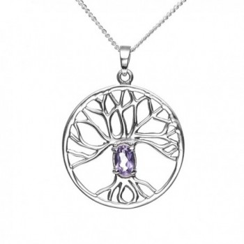 925 Sterling Silver Purple Amethyst Trinity Tree Of Life Round Pendant Necklace- 18 inches - CE11K4X63DN