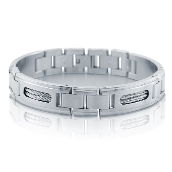 "BERRICLE Stainless Steel Fashion Link Bracelet 8"" - C811BOCKBZT"