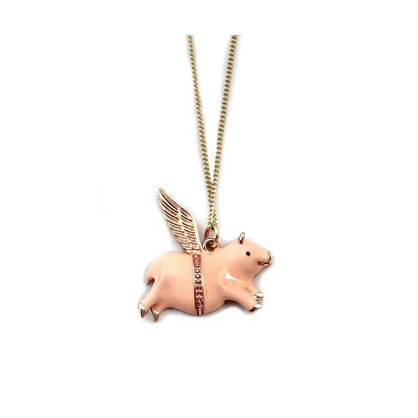 Fun Daisy Lucky Angel Nude Color Pig Short Necklace - CB129MY5ZM9