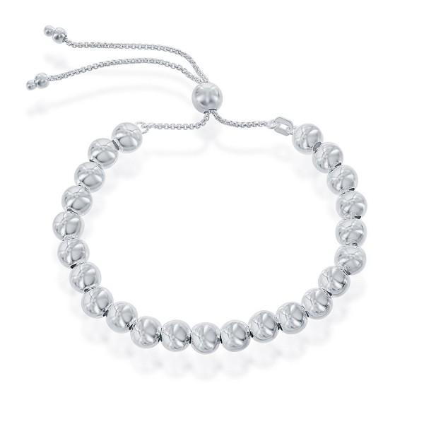 Sterling Silver Italian Adjustable Bracelet - silver - CW182QEC8E8