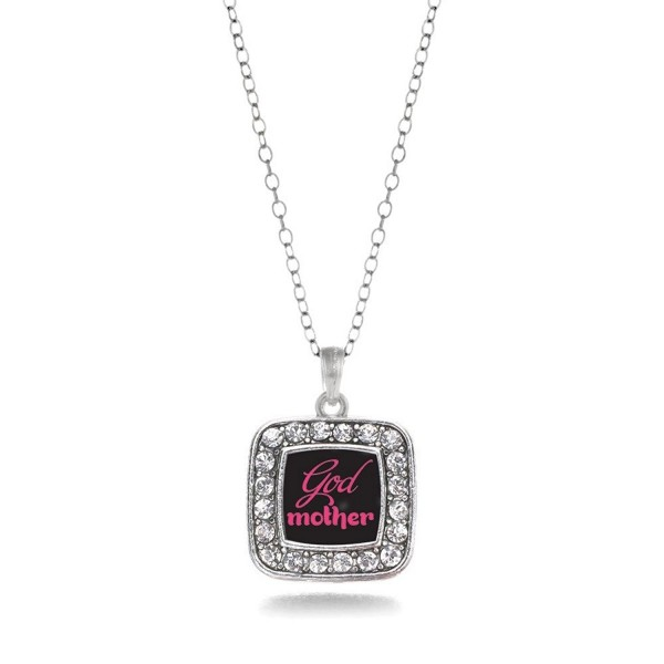 Godmother Charm Classic Silver Plated Square Crystal Necklace - CH11MCHUFUB