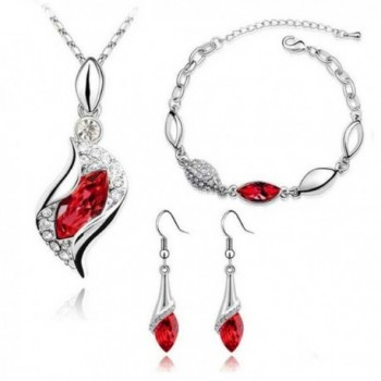 MAFMO Women Colorful Jewelry Set Fashion Crystal Necklace Bracelet Earrings(Red) - CP127MZZK5R