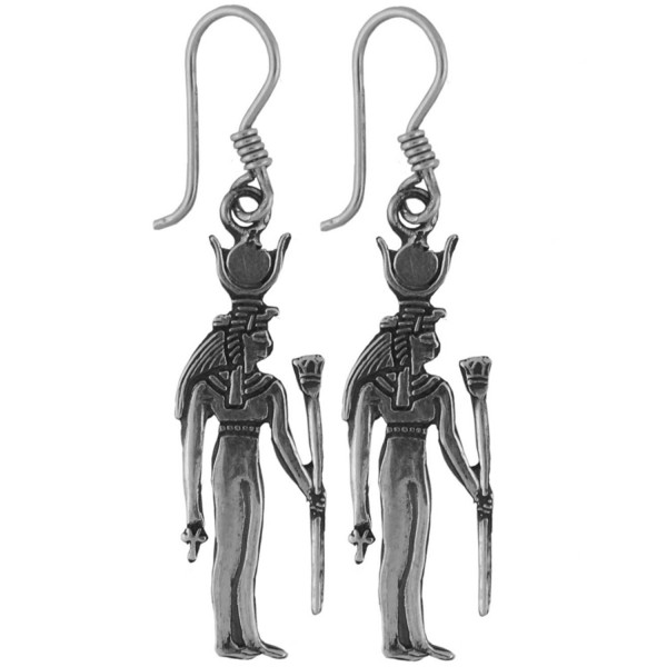 Egyptian Jewelry Silver Goddess Isis Earrings - CU116NZSDKR