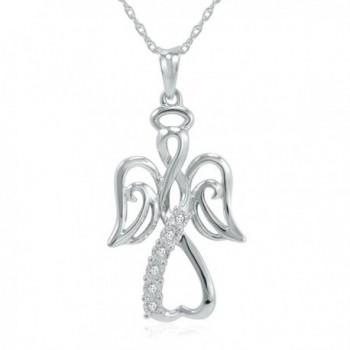 "Winged Angel Open Heart Diamond Pendant-Necklace in Sterling Silver 18"" Chain - CX116XZ3XU7"