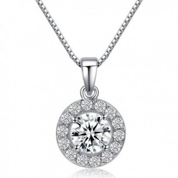 "LicLiz 0.75 Carat Round Cut Cubic Zirconia CZ Halo Pendant Necklace for Women 16"" + 2.4"" Extended Chain - C3188IT2SKD"