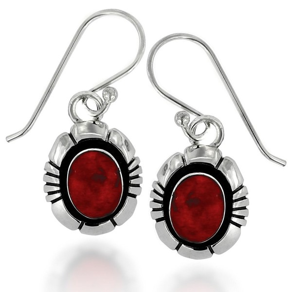 925 Oxidized Sterling Silver Gemstone Oval Dangle Hook Earrings - Red Coral - C611XI24ATZ