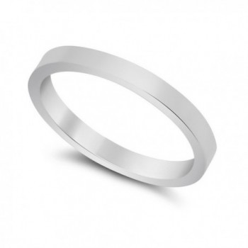 2mm 925 Sterling Silver Nickel-Free Flat Edged Wedding Band - Made in Italy + Jewelry Polishing Cloth - CD11OO5JBVD