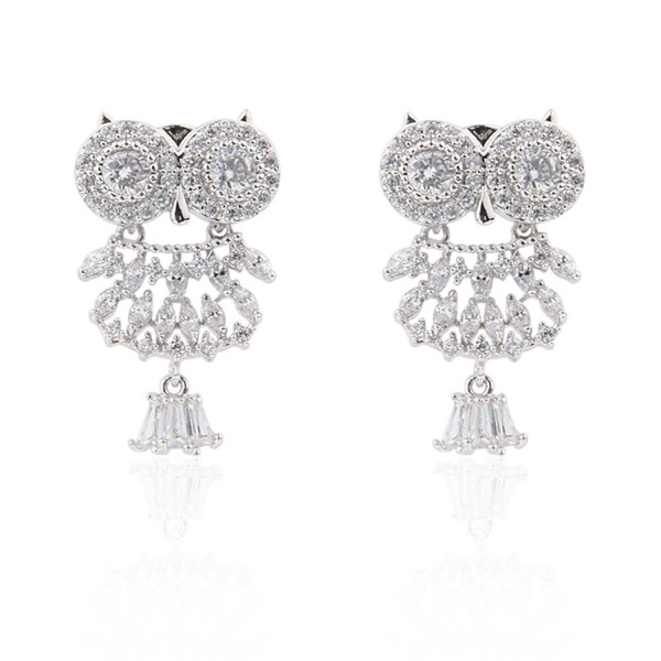 Bishun Animal Jewelry Hypoallergenic 925 Sterling Sliver 14K White Gold Plated Gemstone Owl Stud Earrings - CZ180HH25DR