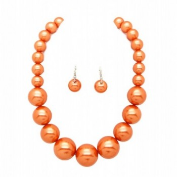 "Women's Large Big Simulated Pearl Statement 18"" Necklace and Earrings Set - Peach - CW180ADI68K"