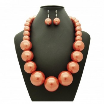 Womens Simulated Statement Necklace Earrings