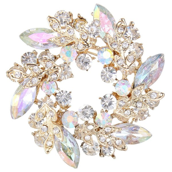 EVER FAITH Austrian Crystal Wedding Flower Wreath Brooch Pin - Iridescent Clear AB Gold-Tone - C712IZWMX5L