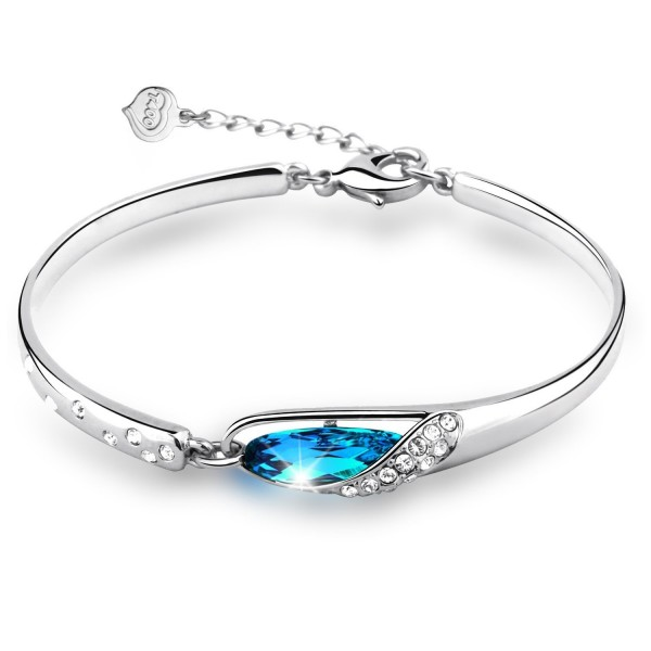 "T400 Mother's Day Gifts ""Glass Slipper"" Wrist Bangle Bracelet 6.7""- Indicolite - C411TPGN8TH"