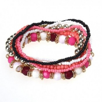 Susenstone7PCS/Set Women Multilayer Acrylic Beads Bangle Bracelets - Red - CO1250Q3UON