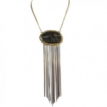 Bold Agate with 17 in. Antique Gold Neck Chain and Two-Tone Black and Gold Chain Fringe - Jet - CL183IH20Y6