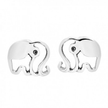 Happy Shiny Elephant Silhouette .925 Sterling Silver Stud Earrings - CT12NBYNX6P