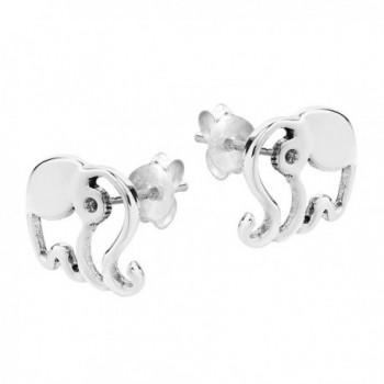 Elephant Silhouette Sterling Silver Earrings