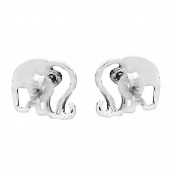 Elephant Silhouette Sterling Silver Earrings in Women's Stud Earrings