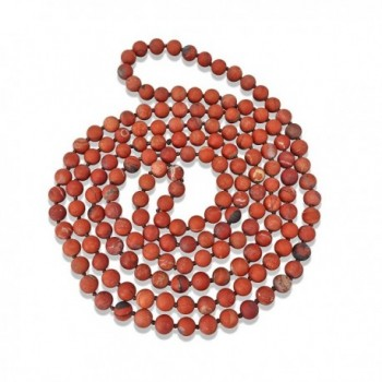 "BjB Endless Infinity Style 8MM Semi-precious Genuine Red Jasper Stone Beaded Necklace- 60"" Long. - CJ1824U2L2N"