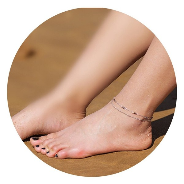 Fettero Dainty Anklet Women Handmade Double Layer Lucky Beads Boho Beach Foot Chain - Sliver - CQ185LZY5NW