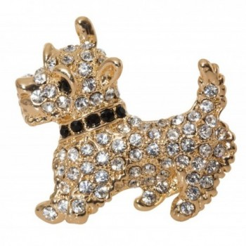 "Scottish Terrier Westie Brooch Pin 1.5"" with Detailed Crystal Accents - CJ189Z0O03R"