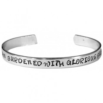 I Am Burdened with Glorious Purpose - Hand Stamped Aluminum Cuff Bracelet - C411JSPR4HR