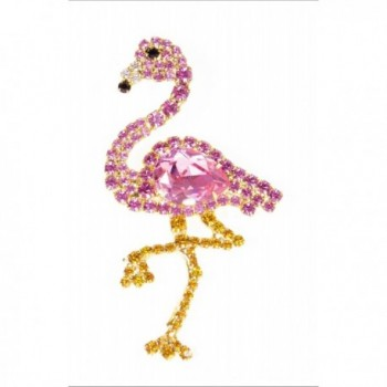 Pink Flamingo Pin with Swarovski Stones by Albert Weiss - C812BC2YCVT