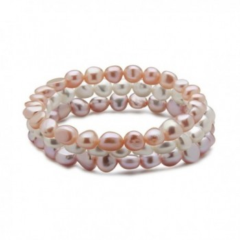 "TARA Pearls Set of 3 7-8mm Natural Color Freshwater Cultured Multi Color Pearl Stretch Bracelets- 7"" - CN12BNNYB5T"
