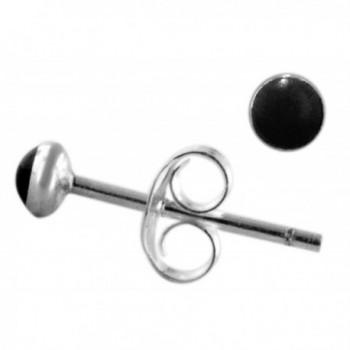 Sterling Silver 3mm Simulated Black Onyx Stud Earrings - C3183LY60KO