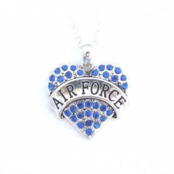 Air Force Blue Crystals Silver Chain Heart Necklace - CA11DSQLK0T