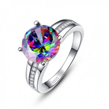 Nuncad Women's Solitaire Halo 10&times10mm Mystic Created Rainbow Topaz Wedding Rings 925 Sterling Silver - CB12NADSAH7